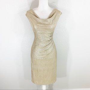 Ralph Lauren gold textured cowl neck midi dress 12